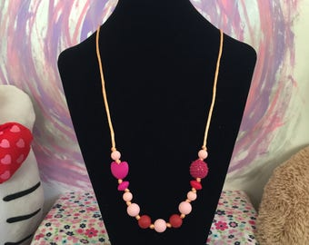 Pink Heart Teething Necklace
