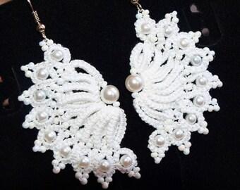 White lace tatting earrings