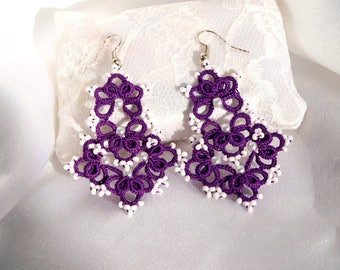 Violet lace tatting earrings with white beads