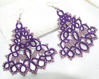 Violet lace tatting earrings