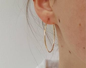 Large Gold Hoop Earrings  -  Big 1.5 , 2 , 2.5  Inch Hammered Gold Filled Hoop Earrings  -  Thin Gold Hoops  - Minimalist Gold Hoop Earrings
