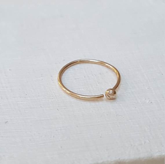 Gold Nose Ring Thin 22g Solid 9k Gold Open Nose Ring With Etsy
