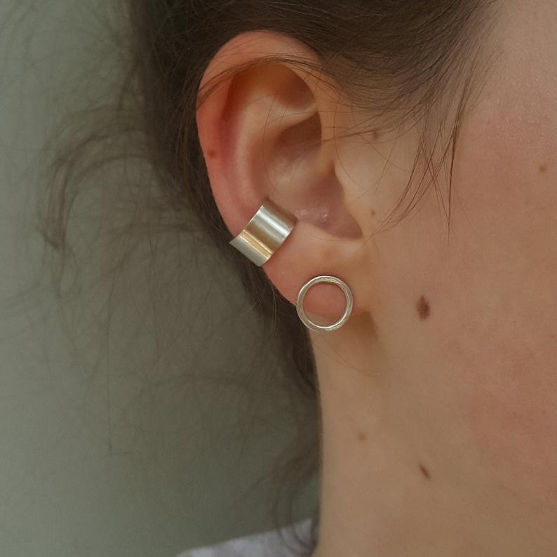 Silver Textured Or Smooth Adjustable No Piercing Ear Cuff Wide Silver Ear Cuff Minimalist Sterling Silver Ear Cuff
