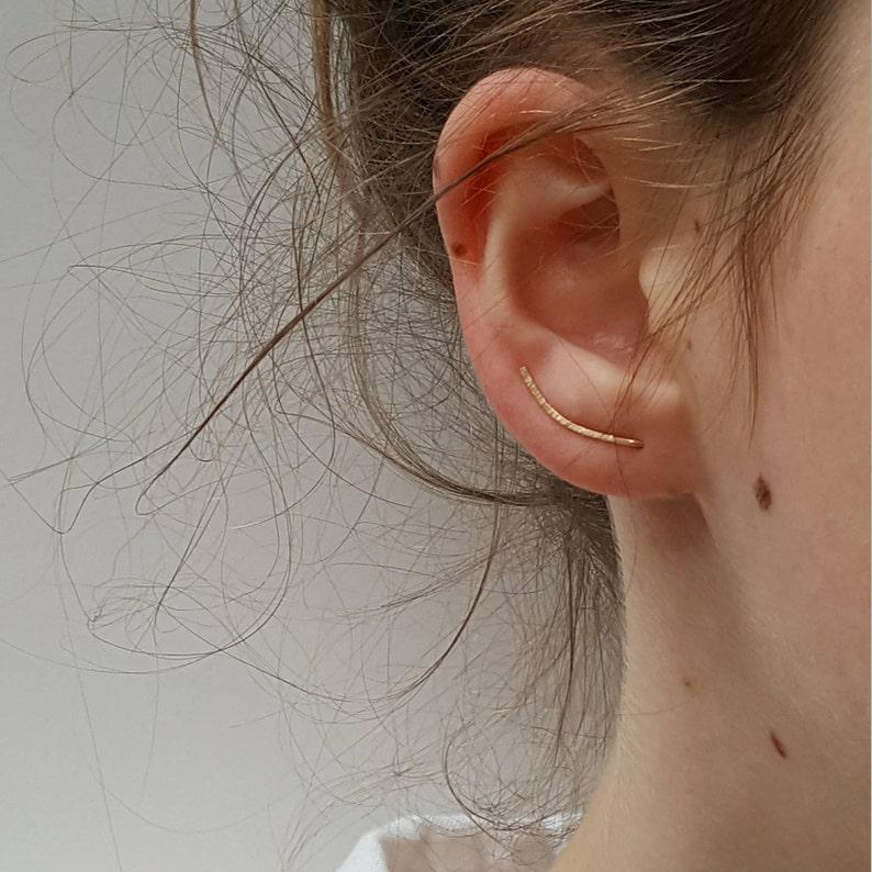 Gold Ear Climber  Dainty Hammered Ear Crawler image 1