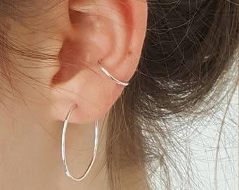 Silver Skinny Ear Cuff Ring  -  Dainty Simple No Piercing Minimal Silver Ear Cuff  -  Minimalist Sterling Silver Ear Cuff  -  Handmade In UK