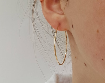 Large Gold Hoop Earrings - Thin Hammered Gold Hoops - Minimalist 2 Inch Gold Hoops