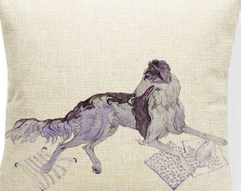 Borzoi, throw pillow cover, painting style, watercolor style, print cushion, 17.7 inch, invisible zipper, back plain beige
