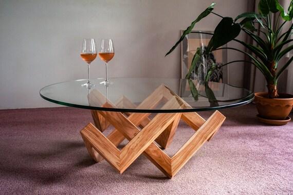 Design Salontafel Hout En Glas.Design Salontafel The Knot Glas En Duurzaam Hout Modern Handgemaakt Woonkamer