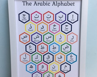 printable hexagon multicoloured arabic alphabet with transliteration art print instant download