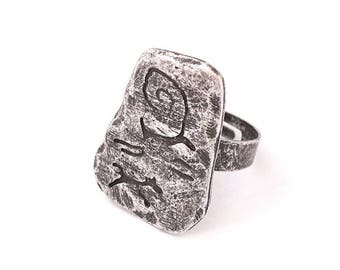 Petroglyph Ring, Hunting Ring, Deer, Prehistoric, Neolithic, Cave Art, Cave Painting, Ancient, Medieval, Middle Ages, SCA, LARP, Reenactment