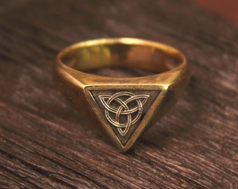 Retro Stainless Steel Knot Triquetra Triskelion Men Signet Ring Size 8-12 Gift