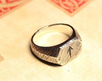 Viking Rune Ring, Rune Jewelry, Pagan Jewelry, Futhark, LARP, SCA, Reenactment, Nordic, Norse Ring, Signet Ring, Solid Ring, Rustic Men Ring