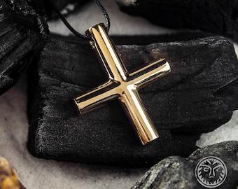 G2-5|1 Tribal Pendant Bronze Cross Dagger Pendant for Necklace Dimensional Antique Gold Brass Rustic Cross Tibetan Vajra Dorje Charm