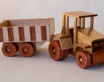 Two Piece Farm Set: Tractor and Dumper Trailer