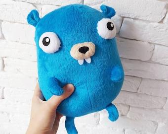Gopher Go, golang, plush Golang, Plush toy Golang, gopher, gopher plush, gopher toy, plush gofer toy, coder gift, geak, docker, golang toy