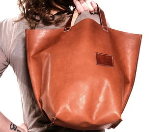 brown leather tote - leather shopper - leather shop bag - leather diaper bag - natural leather bag - leather laptop bag - oversized bag