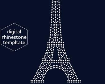 eiffel tower rhinestone template digital download svg eps etsy
