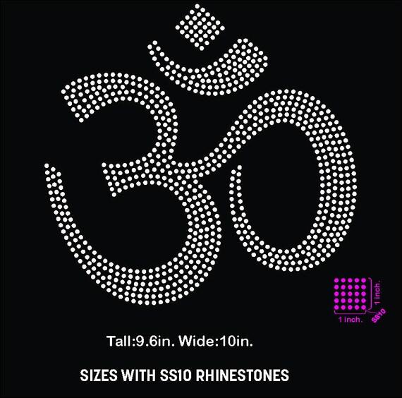 Om Ohm Om Symbol Meditation Yoga Rhinestone Template Etsy