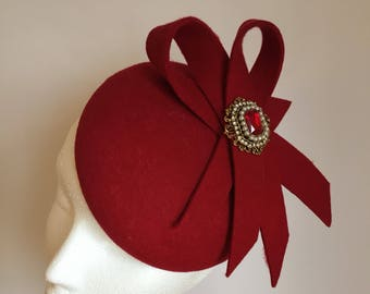 Red Wool Felt Hat, Medium Fascinator - Amelie