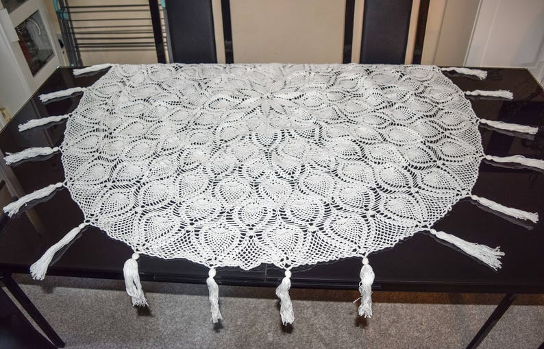 Crochet Round Lace Tablecloth Round Table Cover Handmade Etsy