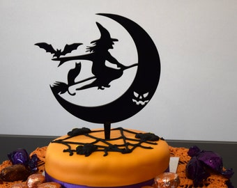 Halloween Cake Topper, Witch Cake Topper, Halloween Decoration, Scary Halloween Cake Topper, Halloween Party Decor, Spooky Cake Topper