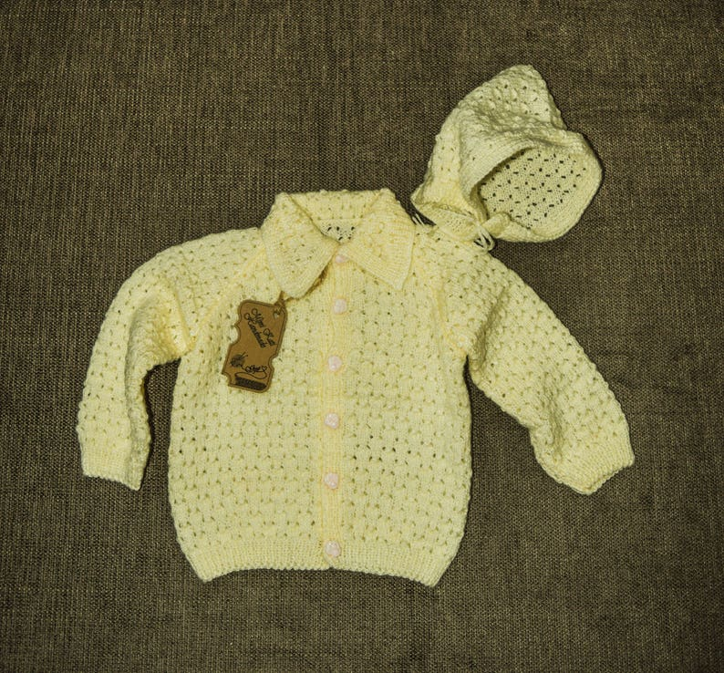 Girls' Clothing (0-24 Months) Hand Knitted Baby Cardigans Newborn yellow Baby