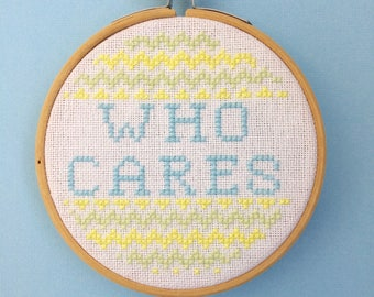 Who cares Cross Stitch Pattern PDF