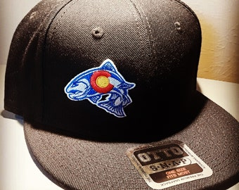83ebb3cf062ac Rainbow Trout Fishing Colorado State Flag Snapback Hat - fly fishing brown  trout fisherman fisherman s fishermen s hat