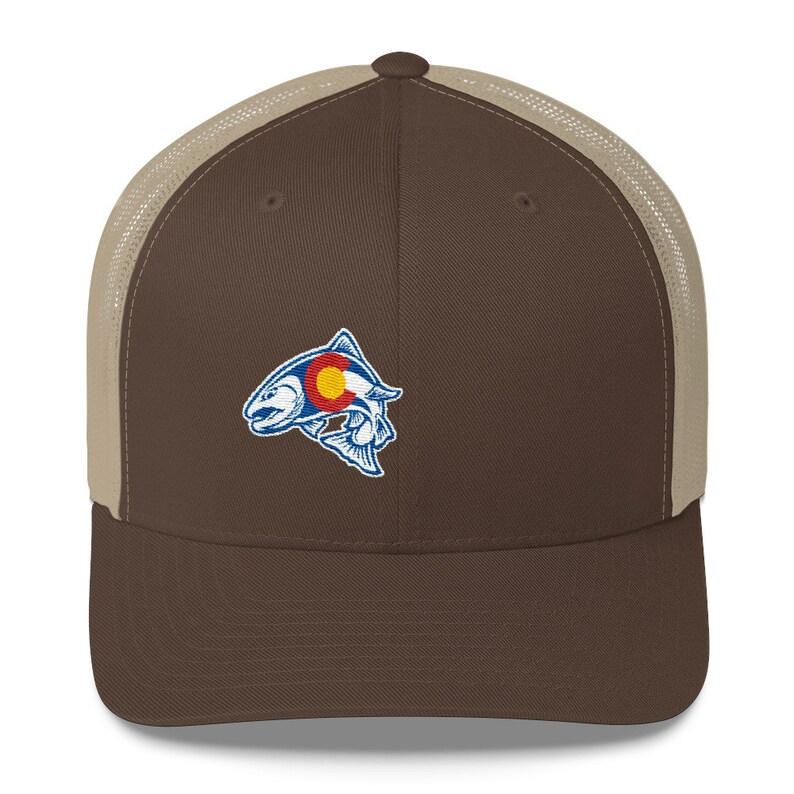 24b3bd098f2ce Rainbow Trout Fishing Colorado State Flag Trucker Snapback Hat