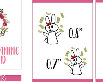 Payday Planner Stickers, Payday Stickers, Rosy the Bunny stickers, Hand Drawn Stickers