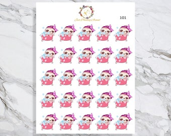 Bath, Lexie the Sloth Stickers, Bath Planner Stickers, Bubble Bath Stickers, Planner Stickers