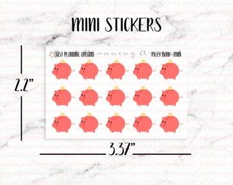 Piggy Bank Planner Stickers, Savings Stickers, Budget stickers, Finance Stickers, Hand Drawn Stickers