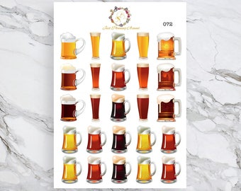 Beer Stickers, Happy Hour Stickers, Drink Stickers, for use with  Erin Condren, Happy Planner