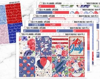 July 4 Planner Kit, July 4 Weekly Kit, Independence Day planner stickers, Holiday Planner Kit, for use with Erin Condren