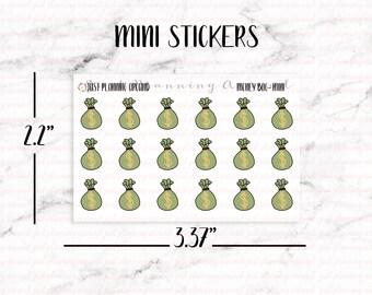 Money Bag Planner Stickers, Money Stickers, Budget stickers, Finance Stickers, Hand Drawn Stickers