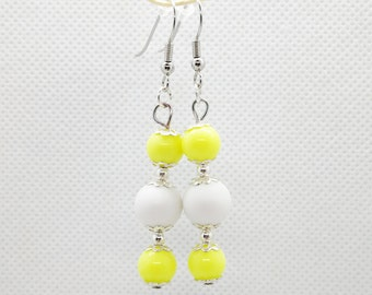 yellow white earrings, costume jewelry, costume jewellery, bead earrings, elegant earrings, colourful bead earrings, hippie earrings, yellow
