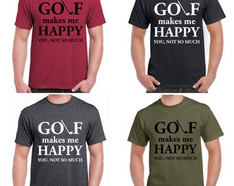 Golf Gifts for Men - Golf Makes Me Happy, You Not So Much Tee - FREE SHIPPING - Golf Lover T-Shirt and Golf Divot Tool Gift Set