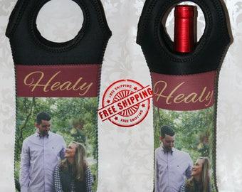 Custom Wine Tote, Custom Printed Wine Bottle Holder, Personalized Wine Bottle Carrier, Hostess Gift, Neoprene, Wedding - FREE SHIPPING