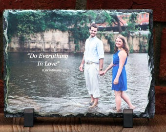 PERSONALIZED Rock Slate with your photo(s) and / or text - Wedding - Christmas - Any Occasion - FREE SHIPPING
