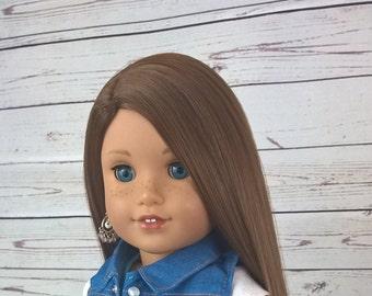 """Custom 10-11"""" Doll Wig Fits Most 18"""" Dolls """"Neapolitan"""" - Heat Safe"""