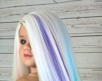 """13-14 Custom Doll Wig fit My Twinn Dollmore Trinity Lusions """"Matilda Faerie Rainbow"""""""
