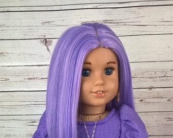"Custom 10-11"" Doll Wig Fits Most 18"" Dolls  ""Luscious Lavender""  Heat Safe"