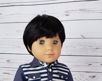 """Custom 10-11"""" Doll Wig Fits Most 18"""" Dolls """"Jet Black"""" BOY Cut- Heat Safe"""