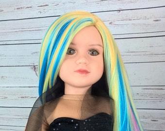 "13-14"" Custom Doll Wig fit My Twinn Dollsmore Trinity Lusions ""Soft Pastel Blend""  Heat Safe"