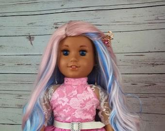 "Custom 10-11"" Doll Wig Fits Most 18"" Dolls PIXIE DUST  Wig- Heat Safe"