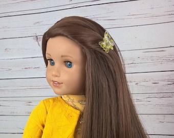 "Custom 10-11"" Doll Wig Fits Most 18"" Dolls ""Warm Chestnut""- Heat Safe"