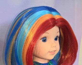 "Custom 9"" Doll Wig Fits Most 1/3 Sized Dolls Gorgeous ""'Lil Rainbow""- Heat Safe"
