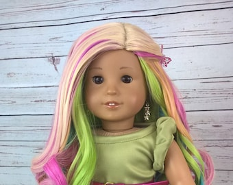 "Custom 10-11"" Doll Wig Fits Most 18"" Dolls Gorgeous ""Mesmerized""- Heat Safe"