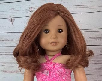 "Custom 10-11"" Doll Wig Fits Most 18"" Dolls Gorgeous ""Strawberry Posy""- Heat Safe"