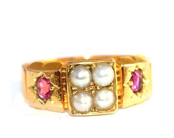 Victorian Ruby & Pearl 15ct Gold Band Ring - FREE WORLDWIDE SHIPPING